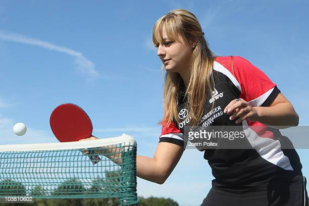 Kristina Kovac of SC Poppenbuettel is pictured in action during the Table Tennis Team Presentation of the SC Poppenbuettel at Steigenberger Hotel on...