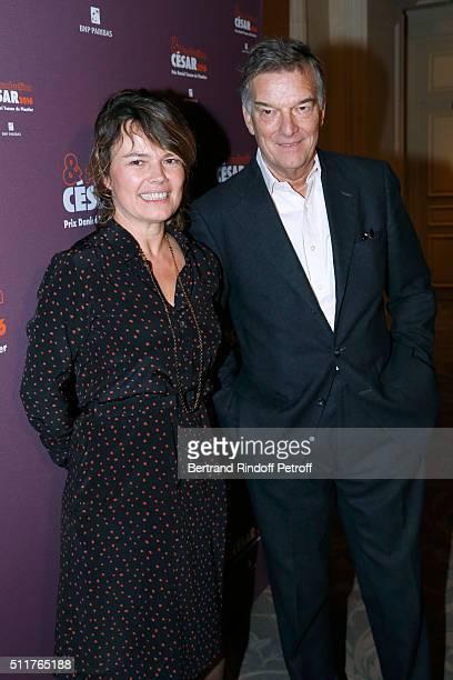 Kristina Larsen and Director Benoit Jacquot attend the 'Diner des Producteurs' Producer's Dinner Cesar 2016 at Four Seasons Hotel George V on...
