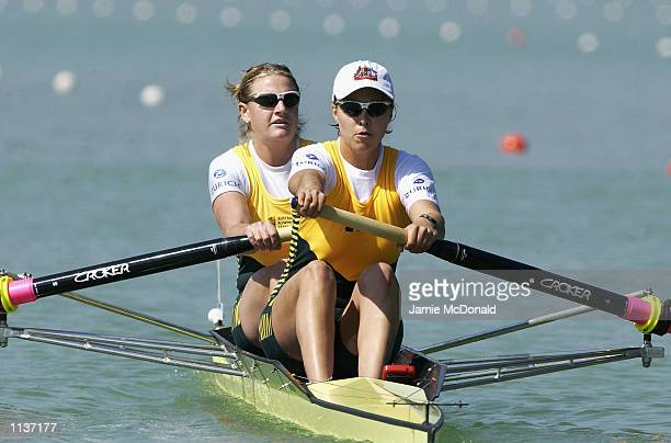 Kristina Larsen and Victoria Roberts of Australia in action in the Women's Pairs during the FISA Rowing World Cup in Lucerne, Switzerland on 12 July,...