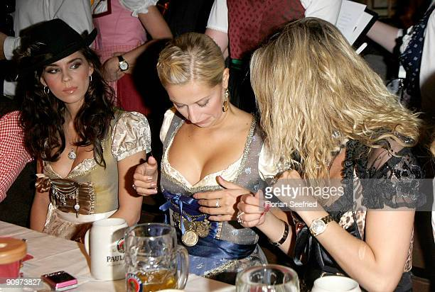 Kristina Liliana Verena Kerth and guest attend the Oktoberfest 2009 opening at Kaefer Schaenke at the Theresienwiese on September 19 2009 in Munich...
