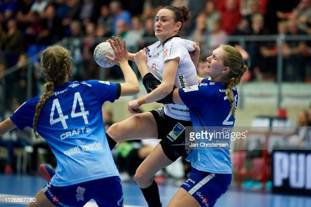 Kristina Liscevic of Team Esbjerg challenge for the ball during the Santander Final4 3 4 place match between Randers HK and Team Esbjerg in Blue...