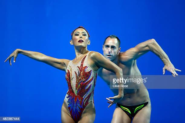 Kristina LumUnderwood and Bill May of the United States compete in the Mixed Duet Free Synchronised Swimming Final on day six of the 16th FINA World...