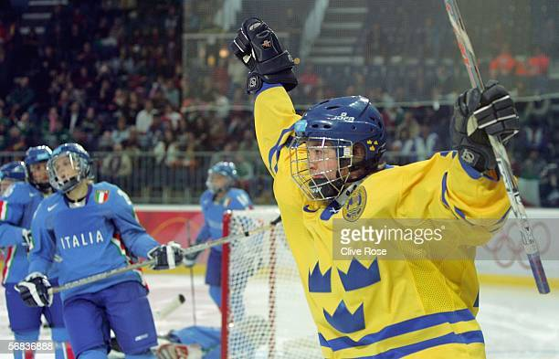 Kristina Lundberg of Sweden celebrates after Sweden scored during the women's ice hockey Preliminary Round Group A match between Sweden and Italy...