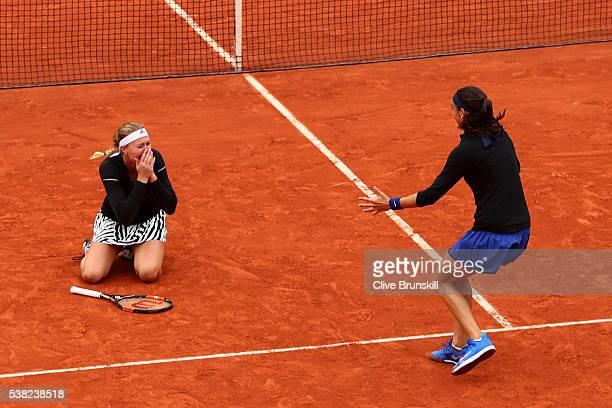 Kristina Mladenovic and Caroline Garcia of France celebrate victory during the Ladies Doubles final match against Elena Vesnina and Ekaterina...