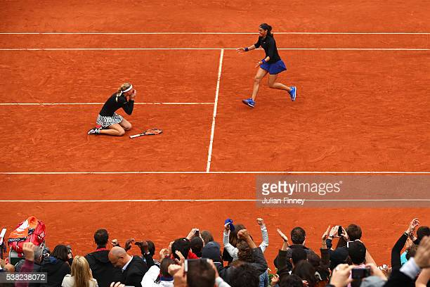 Kristina Mladenovic and Caroline Garcia of France celebrates victory during the Ladies Doubles final match against Elena Vesnina and Ekaterina...