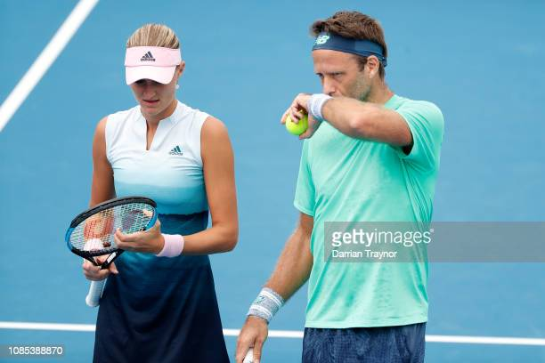 Kristina Mladenovic and Robert Lindstedt in their Mixed Doubles match against Johanna Larsson and Dominic Inglot during day seven of the 2019...