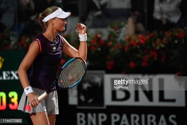 Kristina Mladenovic celebrates against Maria Sakkari during the quarter final match at Internazionali BNL D'Italia Italian Open at the Foro Italico,...