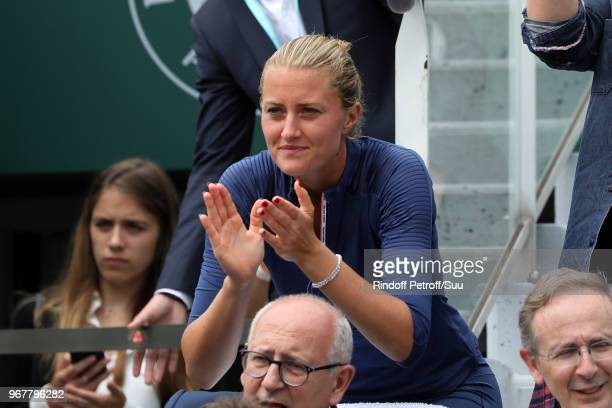 Kristina Mladenovic is seen supporting her boyfriend Dominic Thiem during the 2018 French Open Day Ten at Roland Garros on June 5 2018 in Paris France