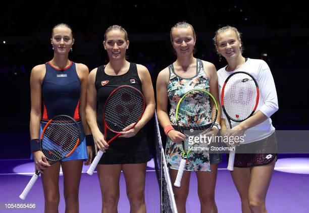 Kristina Mladenovic of France and Timea Babos of Hungary play Barbora Krejcikova and Katerina Siniakova of the Czech Republic in the Women's doubles...