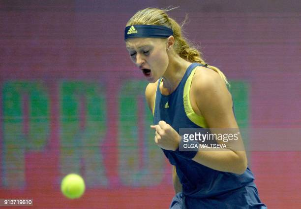 Kristina Mladenovic of France celebrates after winning a point against Daria Kasatkina of Russia during their Saint Petersburg WTA tennis tournament...