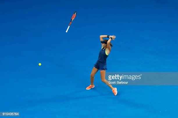 Kristina Mladenovic of France celebrates after winning the women's doubles final with Timea Babos of Hungary against Ekaterina Makarova of Russia and...