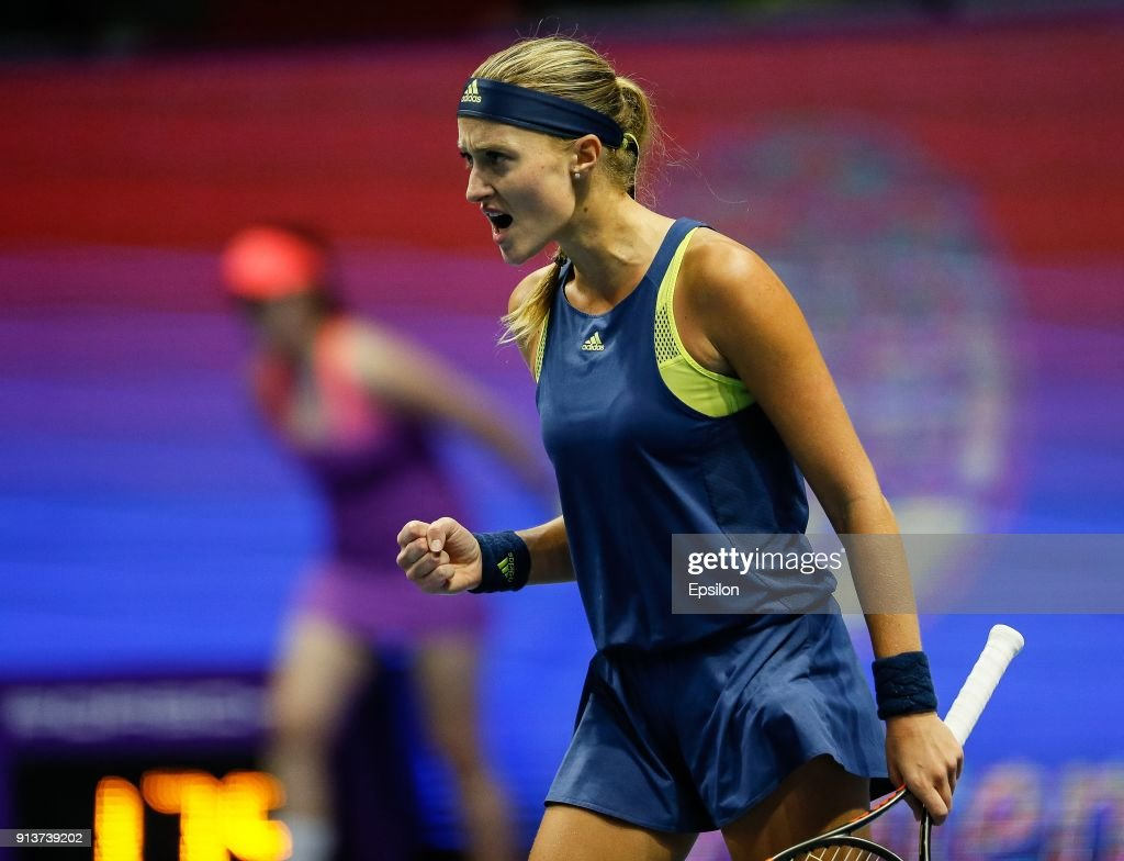 Kristina Mladenovic of France celebrates during her St. Petersburg Ladies Trophy 2018 semi-final tennis match against Daria Kasatkina of Russia on February 3, 2018 in Saint Petersburg, Russia.