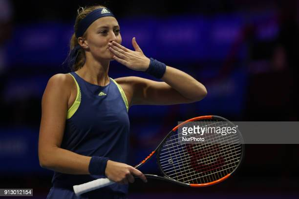Kristina Mladenovic of France celebrates his victory over Dominika Cibulkova of Slovakia during the St Petersburg Ladies Trophy ATP tennis tournament...