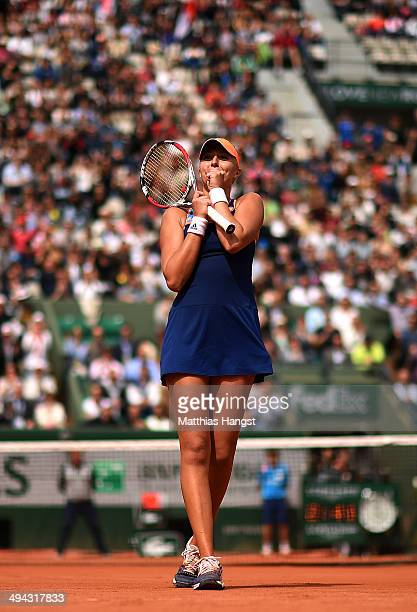 Kristina Mladenovic of France celebrates victory during her women's singles match against Alison Riske of the United States on day five of the French...