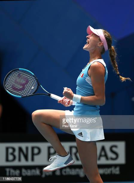 Kristina Mladenovic of France celebrates winning her game during her match against Ajla Tomljanovic of Australia in the 2019 Fed Cup Final tie...