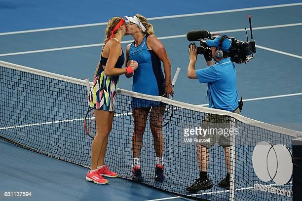 Kristina Mladenovic of France congratulates Coco Vandeweghe of the United States after winning in the womens singles match during the 2017 Hopman Cup...