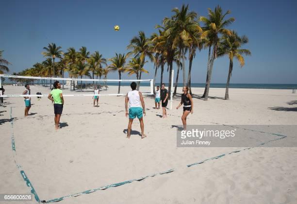 Kristina Mladenovic of France, Daria Kasatkina of Russia, Jamie Murray of Great Britain, Bruno Soares of Brazil and Joao Sousa of Portugal take part...