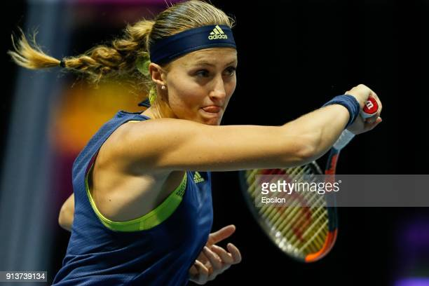 Kristina Mladenovic of France during her St Petersburg Ladies Trophy 2018 semifinal tennis match against Daria Kasatkina of Russia on February 3 2018...