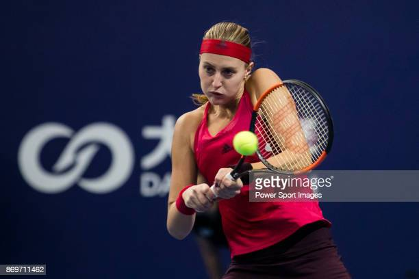 Kristina Mladenovic of France hits a return during the singles Round Robin match of the WTA Elite Trophy Zhuhai 2017 against Julia Goerges of Germany...