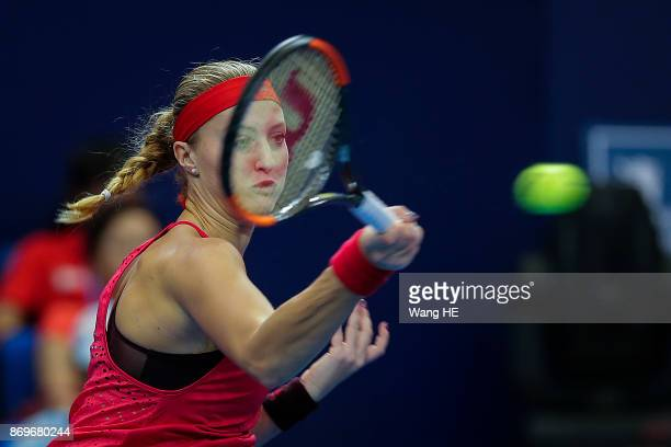 Kristina Mladenovic of France hits a return in her match agains Julia Goerges of Germany during the WTA Elite Trophy Zhuhai 2017 at Hengqin Tennis...