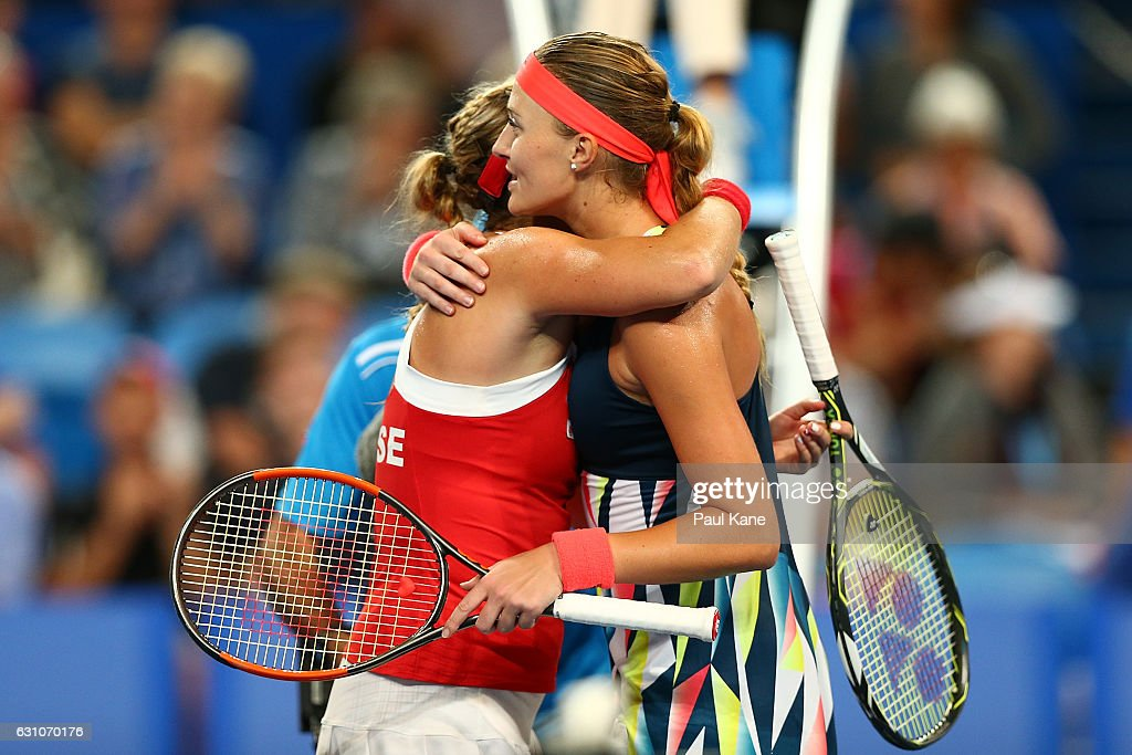 Kristina Mladenovic of France hugs Belinda Bencic of Switzerland after winning the women's singles match during day six of the 2017 Hopman Cup at Perth Arena on January 6, 2017 in Perth, Australia.