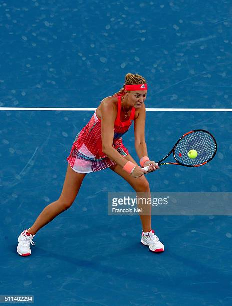 Kristina Mladenovic of France in action against ChiaJung Chaung of Taiwan and Darija Jurak of Croatia during the women's final match of the WTA Dubai...