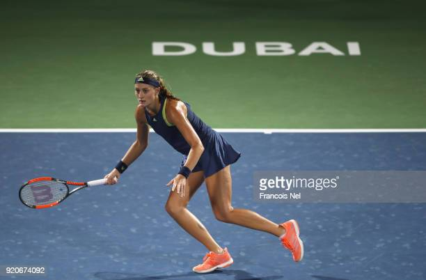 Kristina Mladenovic of France in action against Naomi Osaka of Japan during day one of the WTA Dubai Duty Free Tennis Championship at the Dubai...