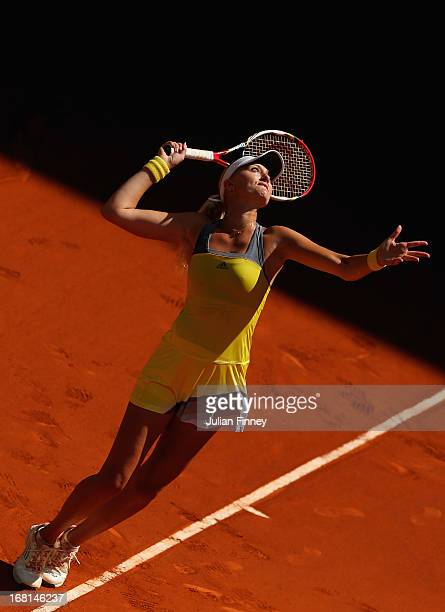 Kristina Mladenovic of France in action against Silvia SolerEspinosa of Spain during day three of the Mutua Madrid Open tennis tournament at the Caja...