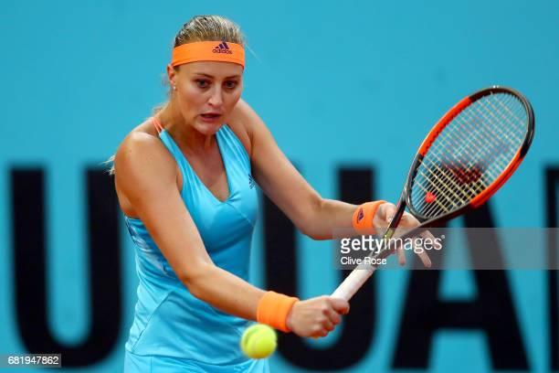Kristina Mladenovic of France in action during her match against Sorana Cirstea of Romania on day six of the Mutua Madrid Open tennis at La Caja...