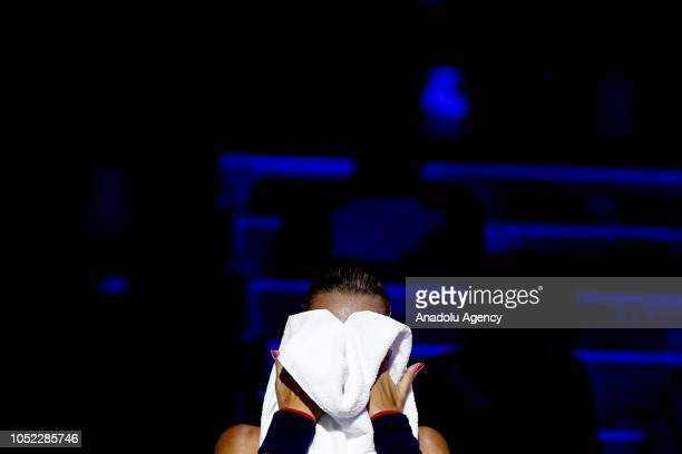 Kristina Mladenovic of France is seen during the women's singles tennis qualifying match against Anna Kalinskaya of Russia within the 2018 VTB...