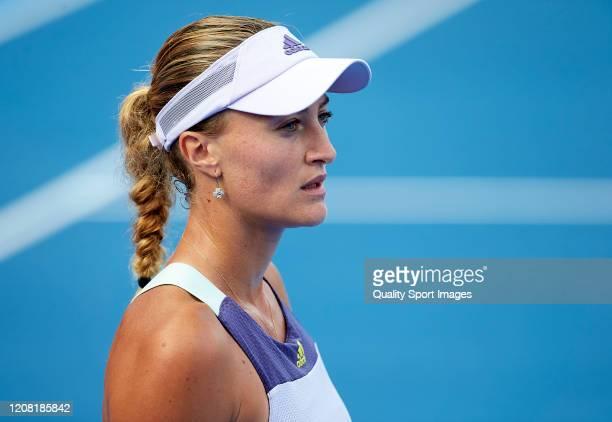Kristina Mladenovic of France looks on against Veronika Kudermetova of Russia during day one of the WTA Qatar Total Open 2020 at Khalifa...