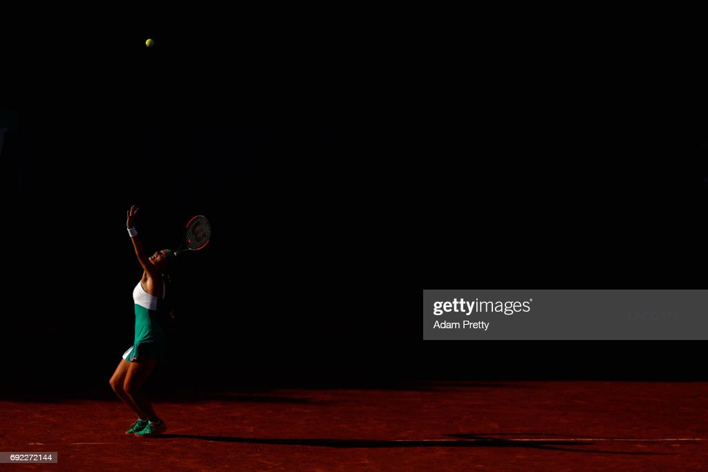 Kristina Mladenovic of France, partner of Svetlana Kuznetsova of Russia (Not pictured) serves during the ladies doubles match against Jana Capelova of Sloavakia and Su-Wei Hsieh of Taipei on day eight of the 2017 French Open at Roland Garros on June 4, 2017 in Paris, France.