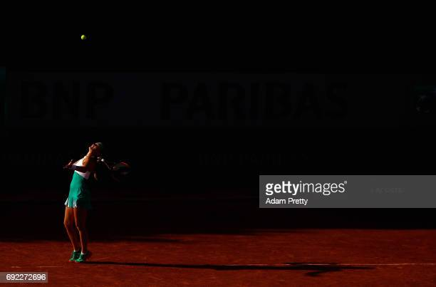 Kristina Mladenovic of France partner of Svetlana Kuznetsova of Russia serves during the ladies doubles match against Jana Capelova of Sloavakia and...