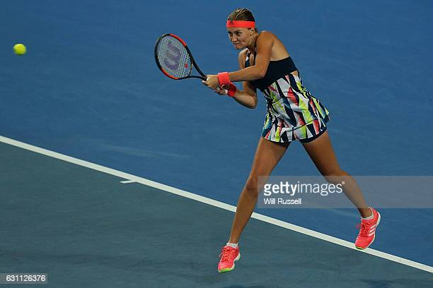 Kristina Mladenovic of France plays a backhand to Coco Vandeweghe of the United States in the womens singles match during the 2017 Hopman Cup Final...