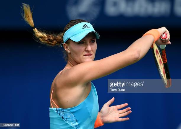 Kristina Mladenovic of France plays a forehand during her match against Qiang Wang of China on day four of the WTA Dubai Duty Free Tennis...
