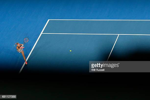 Kristina Mladenovic of France plays a forehand to Coco Vandeweghe of the United States in the womens singles match during the 2017 Hopman Cup Final...