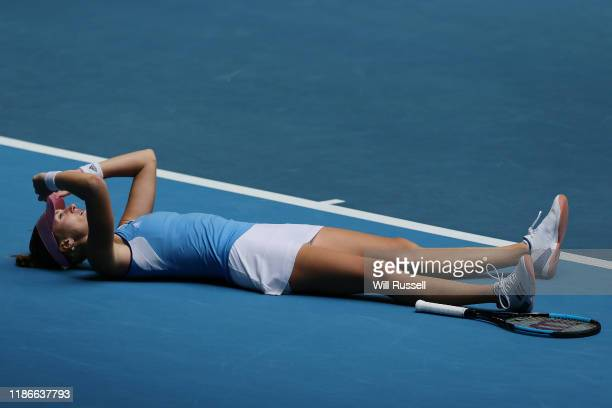 Kristina Mladenovic of France reacts after winning the set against Ash Barty of Australia during the match in the 2019 Fed Cup Final tie between...