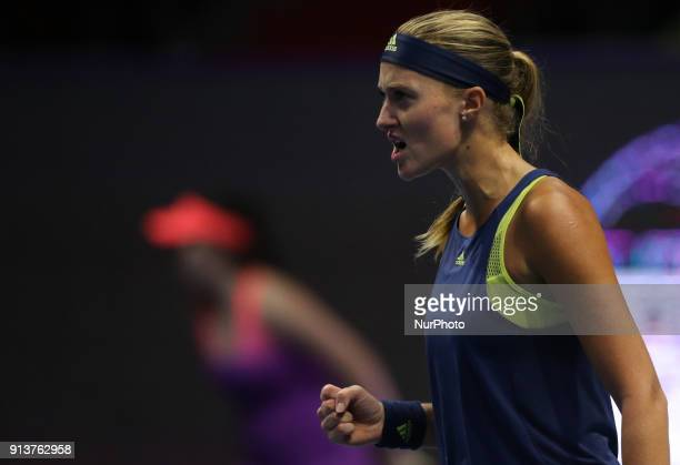 Kristina Mladenovic of France reacts as he competes against Daria Kasatkina of Russia during the St Petersburg Ladies Trophy ATP tennis tournament...