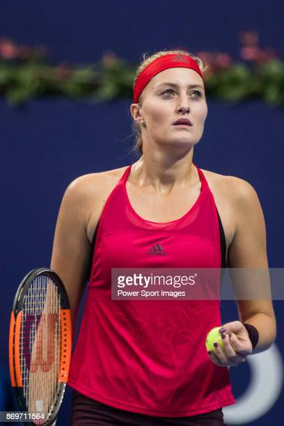 Kristina Mladenovic of France reacts during the singles Round Robin match of the WTA Elite Trophy Zhuhai 2017 against Julia Goerges of Germany at...