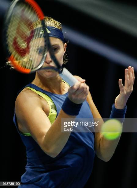 Kristina Mladenovic of France returns the ball to Daria Kasatkina of Russia during their St Petersburg Ladies Trophy 2018 semifinal tennis match on...