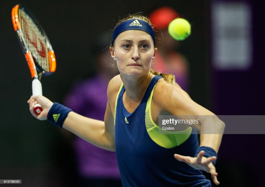 Kristina Mladenovic of France returns the ball to Daria Kasatkina of Russia during their St. Petersburg Ladies Trophy 2018 semi-final tennis match on February 3, 2018 in Saint Petersburg, Russia.