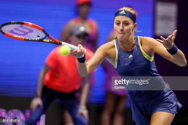 Kristina Mladenovic of France returns the ball to Petra Kvitova of Czech Republic during their St Petersburg Ladies Trophy 2018 final tennis match on...