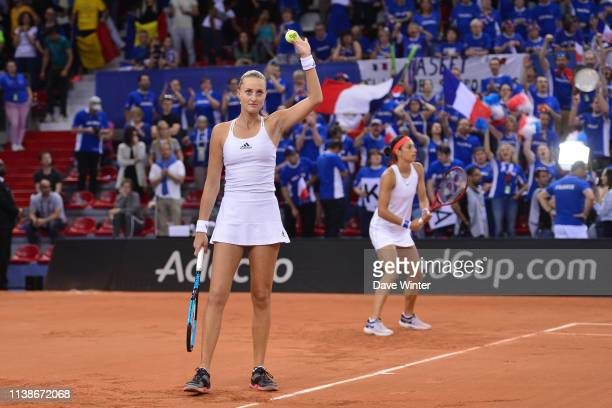 Kristina Mladenovic of France salutes the crowd during the Fed Cup semifinal between France and Romania on April 21 2019 in Rouen France