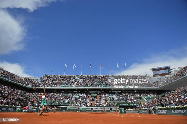 Kristina Mladenovic of France serves during the women's singles quarterfinal match against Timea Bacsinsky of Switzerland on day ten of the 2017...