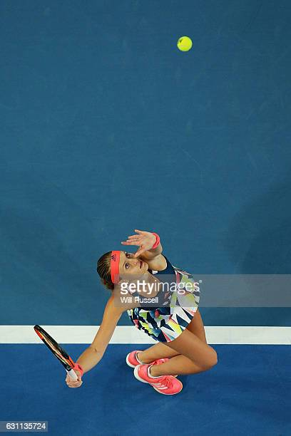 Kristina Mladenovic of France serves in the mixed doubles match against Coco Vandeweghe and Jack Sock of the United States during the 2017 Hopman Cup...