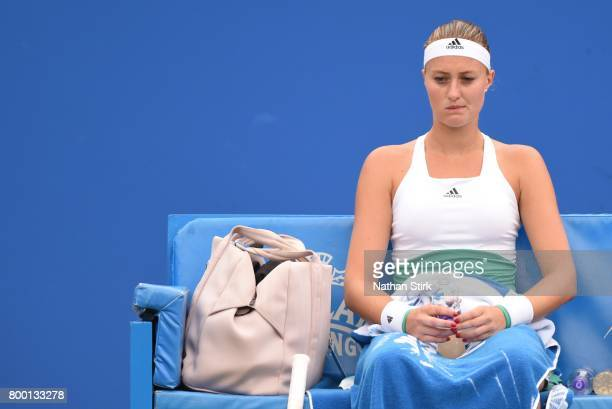 Kristina Mladenovic of France takes a break during the quarter final match against Petra Kvitova of Czech Republic on day five of The Aegon Classic...
