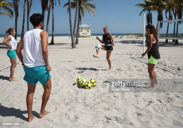Kristina Mladenovic of France takes part in some beach football at Crandon Beach on March 22, 2017 in Key Biscayne, Florida.