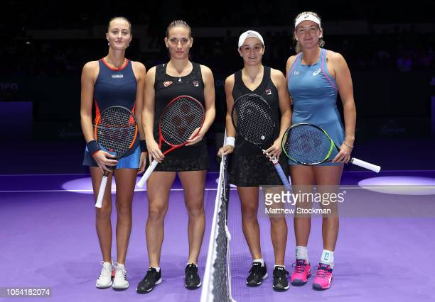 Kristina Mladenovic of France Timea Babos of Hungary Ashleigh Barty of Australia and CoCo Vandeweghe of the United States pose in the Women's doubles...