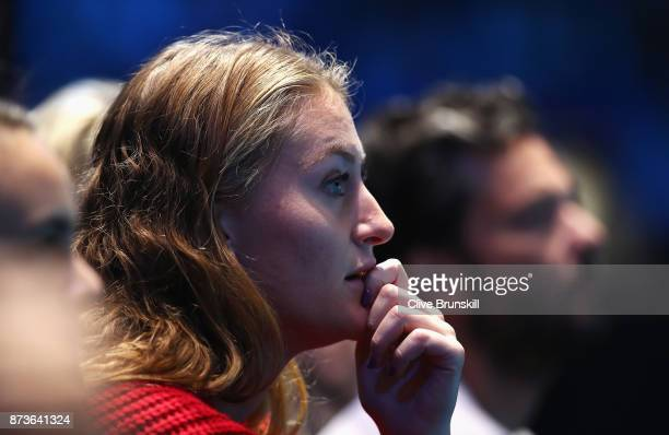 Kristina Mladenovic of France watches the match between Dominic Thiem of Austria and Grigor Dimitrov of Bulgaria during day two of the Nitto ATP...