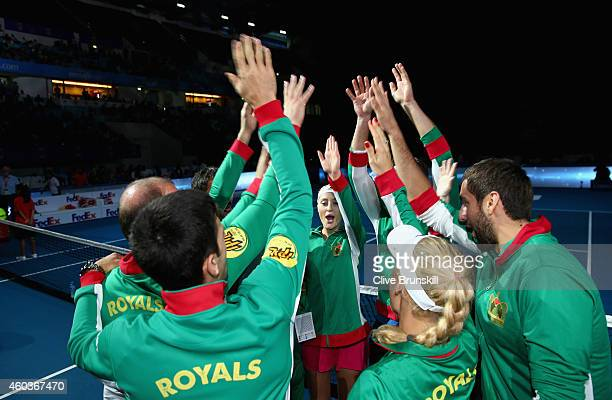 Kristina Mladenovic of the UAE Royals does a pre match cheer with her team mates before their match against the Singapore Slammers during the...